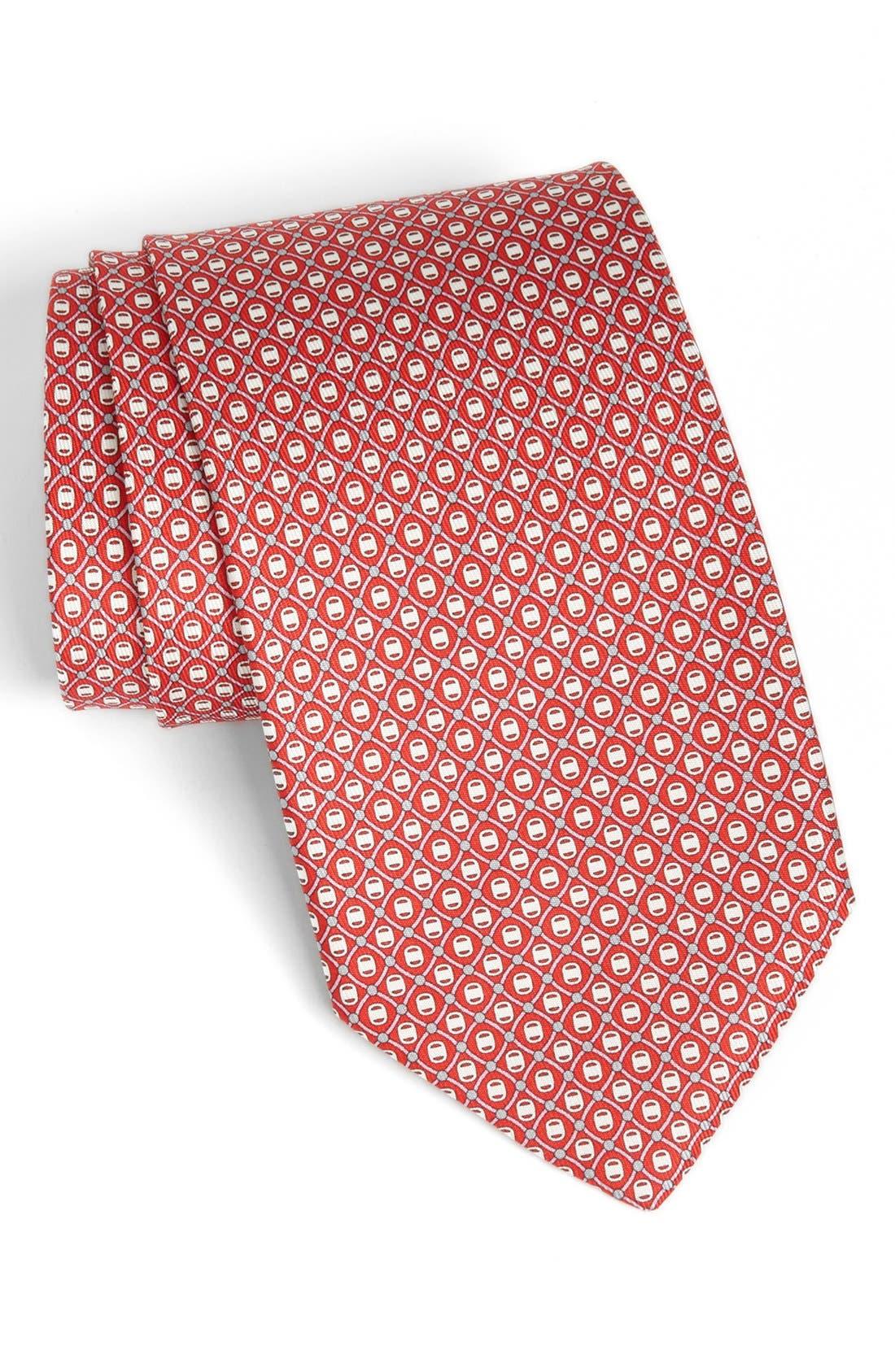 Alternate Image 1 Selected - Salvatore Ferragamo Grid Print Silk Tie