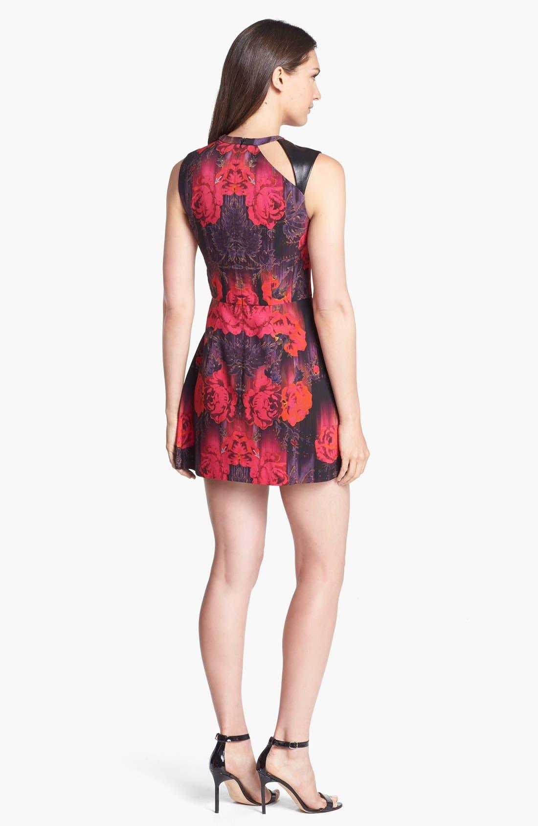 Alternate Image 2  - Nanette Lepore 'Navigator' Leather Trim Print Fit & Flare Dress