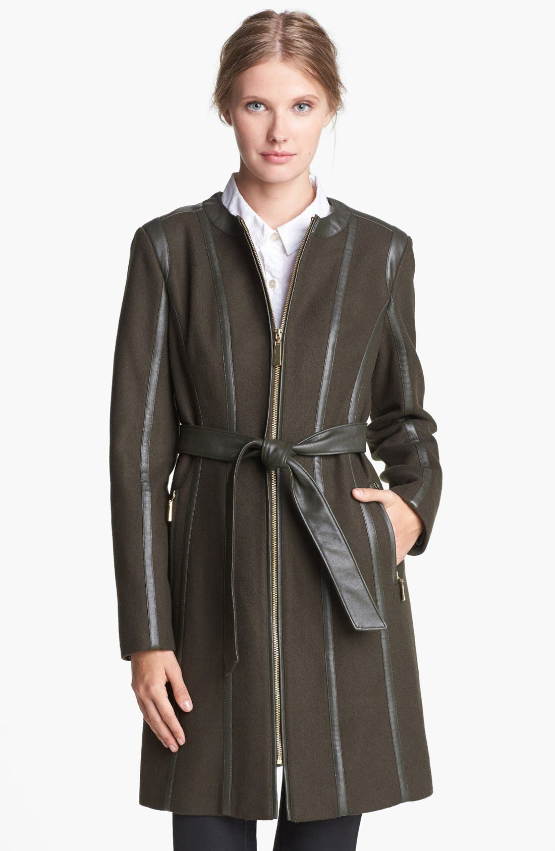 Main Image - Vince Camuto Leather Trim Belted Wool Blend Coat