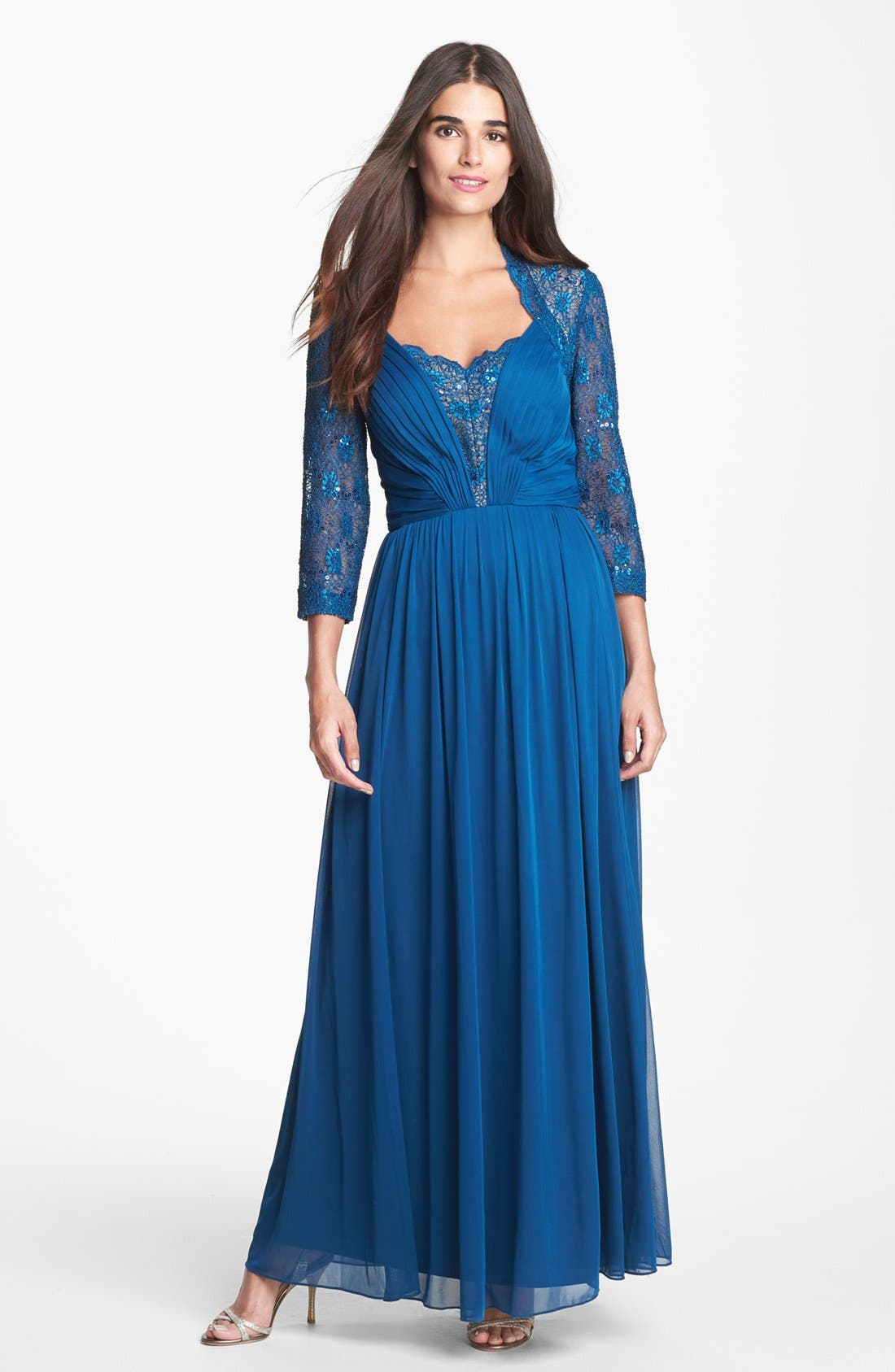 Main Image - Alex Evenings Lace & Mesh Gown (Regular & Petite)