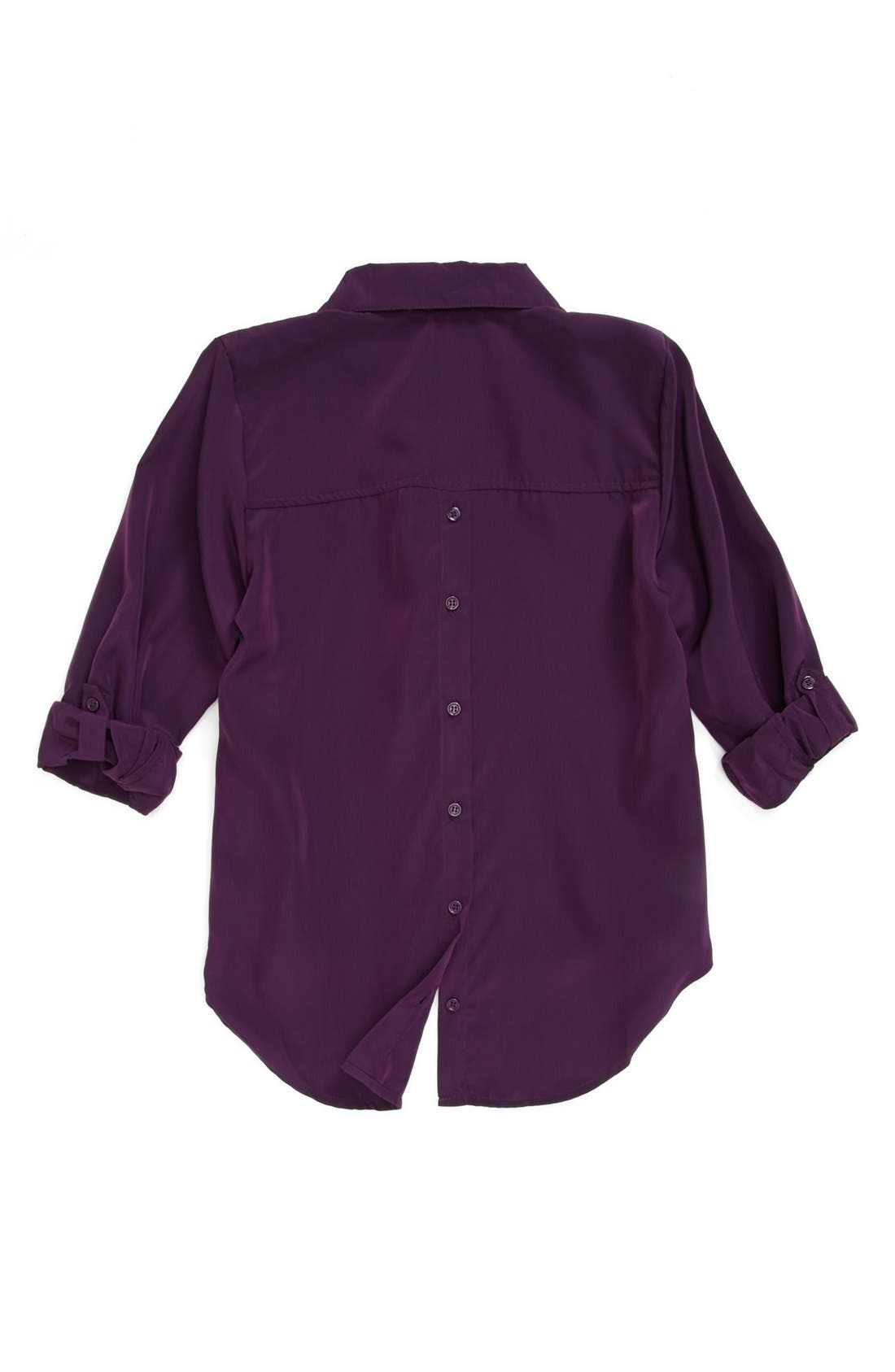 Alternate Image 2  - Mia Chica 'Back Button' Woven Top (Big Girls)