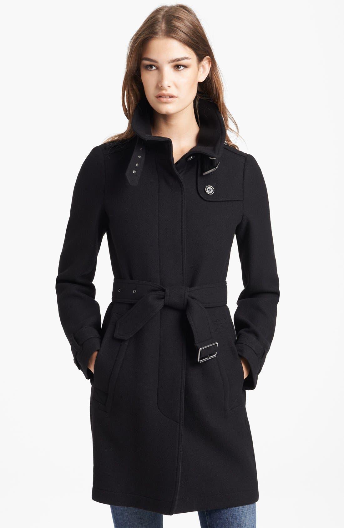 Main Image - Burberry Brit 'Rushworth' Belted Wool Blend Coat