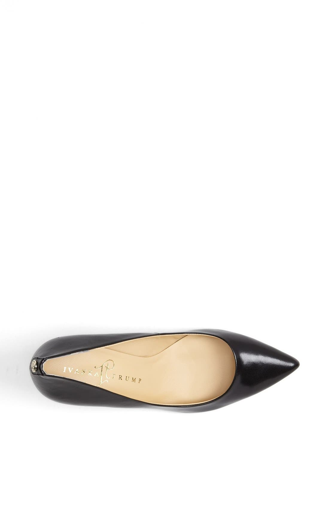 'Natalie' Pointed Toe Pump,                             Alternate thumbnail 3, color,                             Black Leather