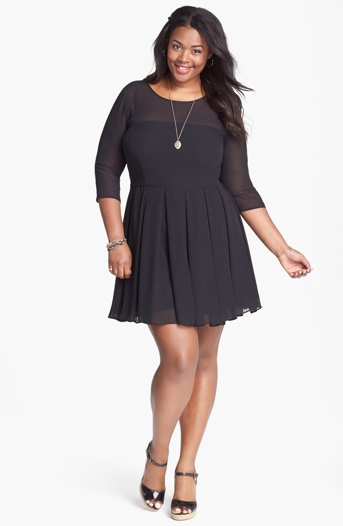 Main Image - BB Dakota 'Anita' Georgette Fit & Flare Dress (Plus Size)