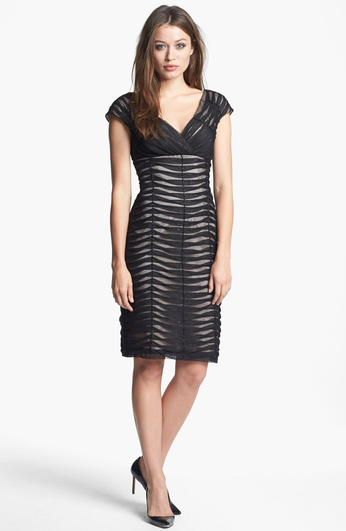 Alternate Image 1 Selected - Adrianna Papell Pintucked Mesh Sheath Dress