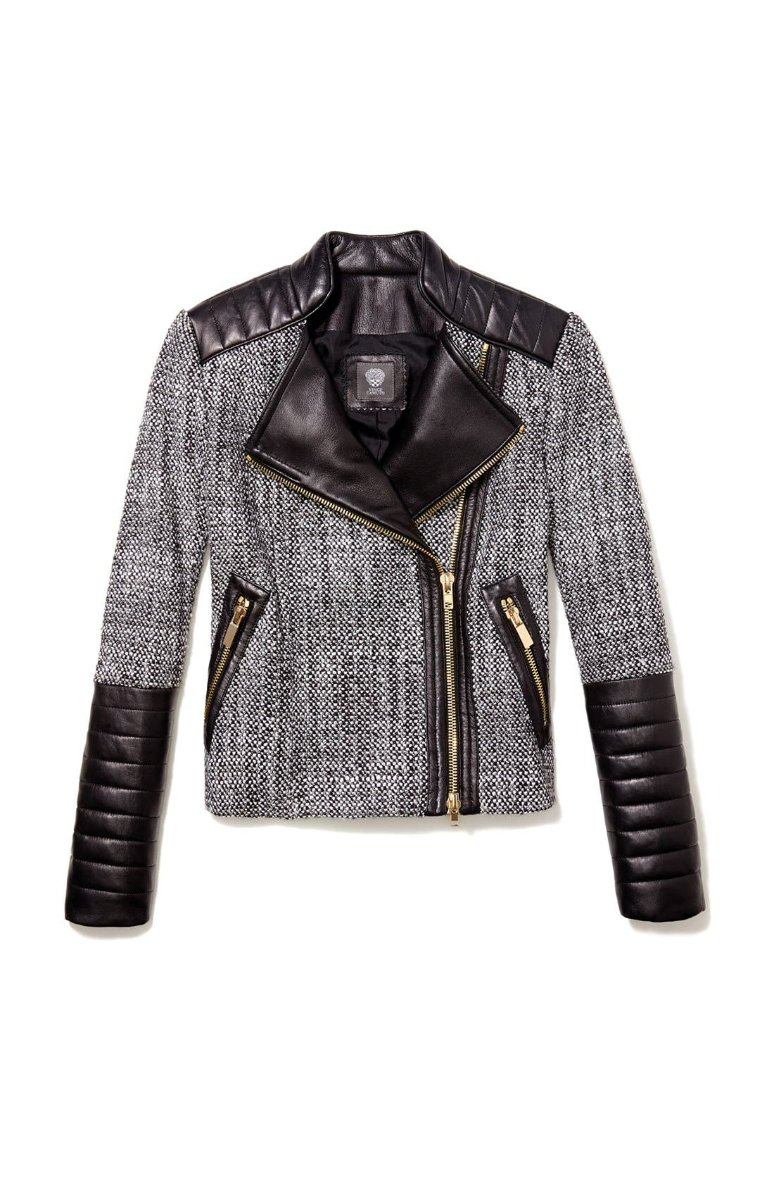 Alternate Image 6  - Vince Camuto Tweed & Faux Leather Moto Jacket