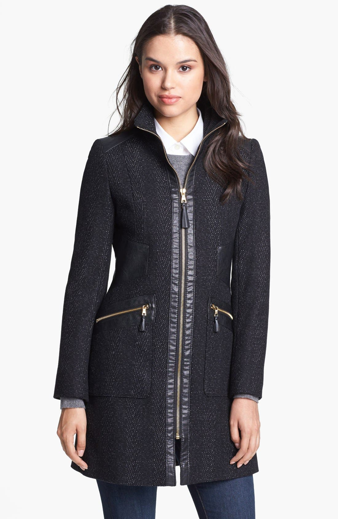 Alternate Image 1 Selected - Via Spiga Faux Leather Trim Tweed Coat (Petite)