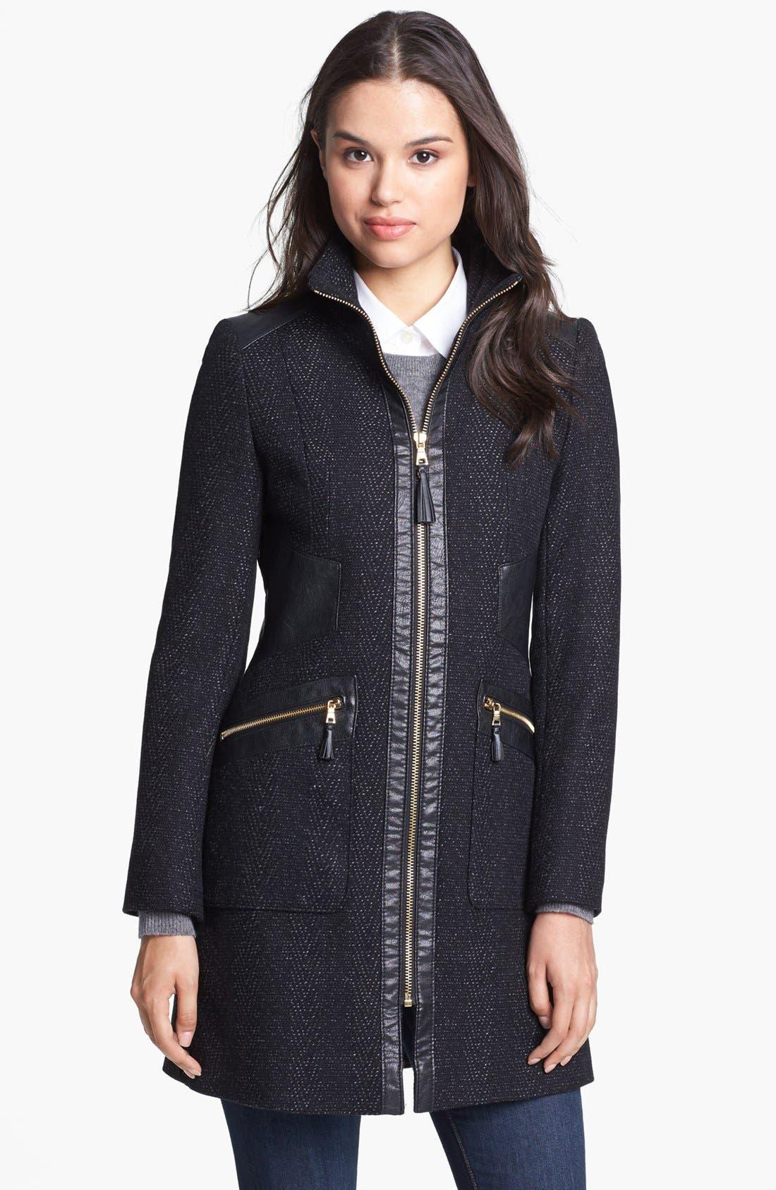 Main Image - Via Spiga Faux Leather Trim Tweed Coat (Petite)