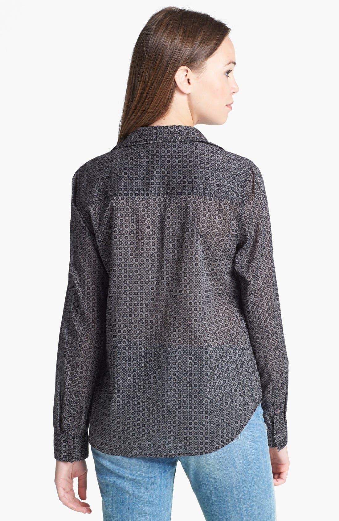 Alternate Image 2  - Halogen® Roll Sleeve Cotton Shirt (Regular & Petite)