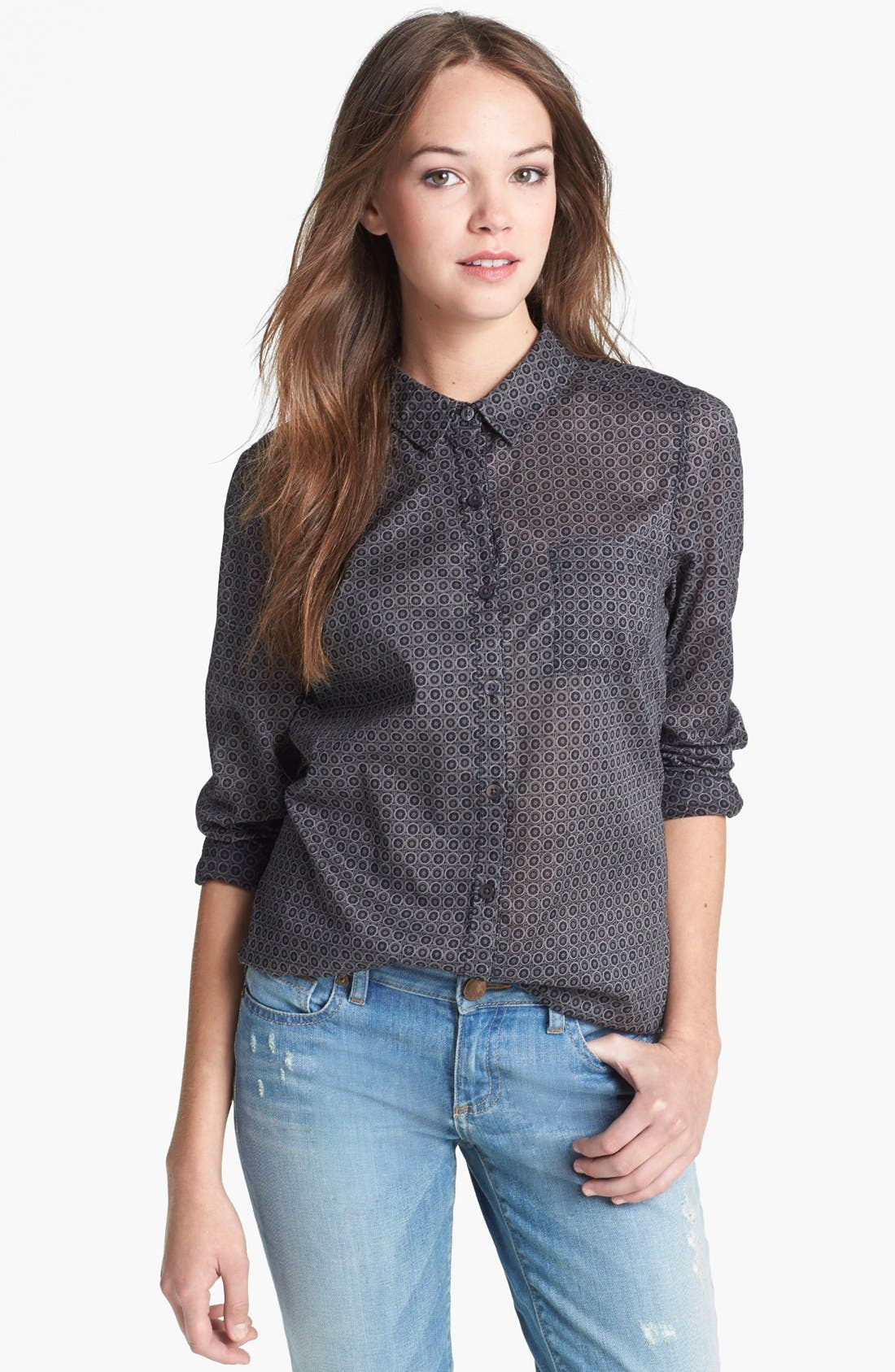 Alternate Image 1 Selected - Halogen® Roll Sleeve Cotton Shirt (Regular & Petite)
