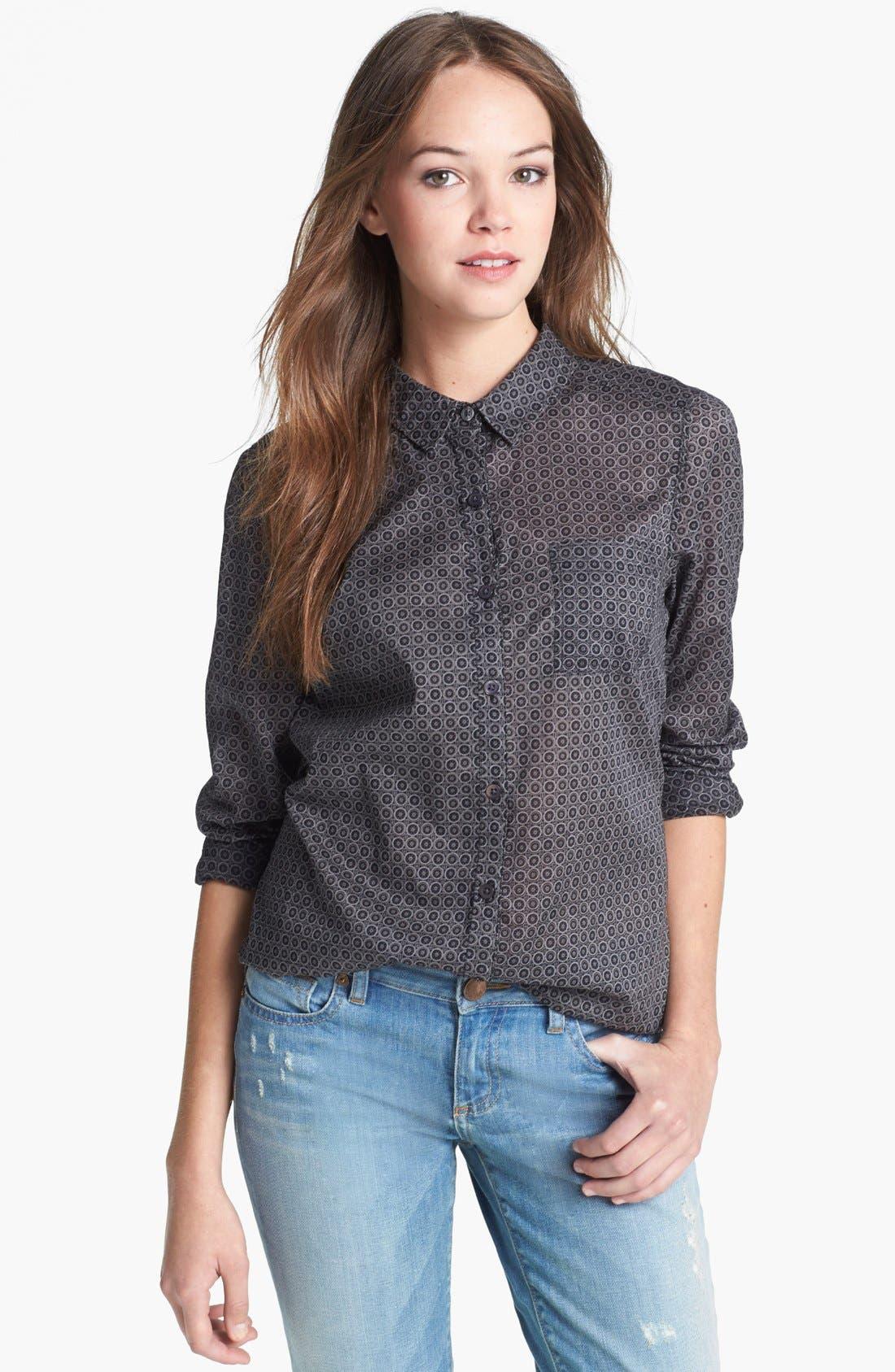 Main Image - Halogen® Roll Sleeve Cotton Shirt (Regular & Petite)