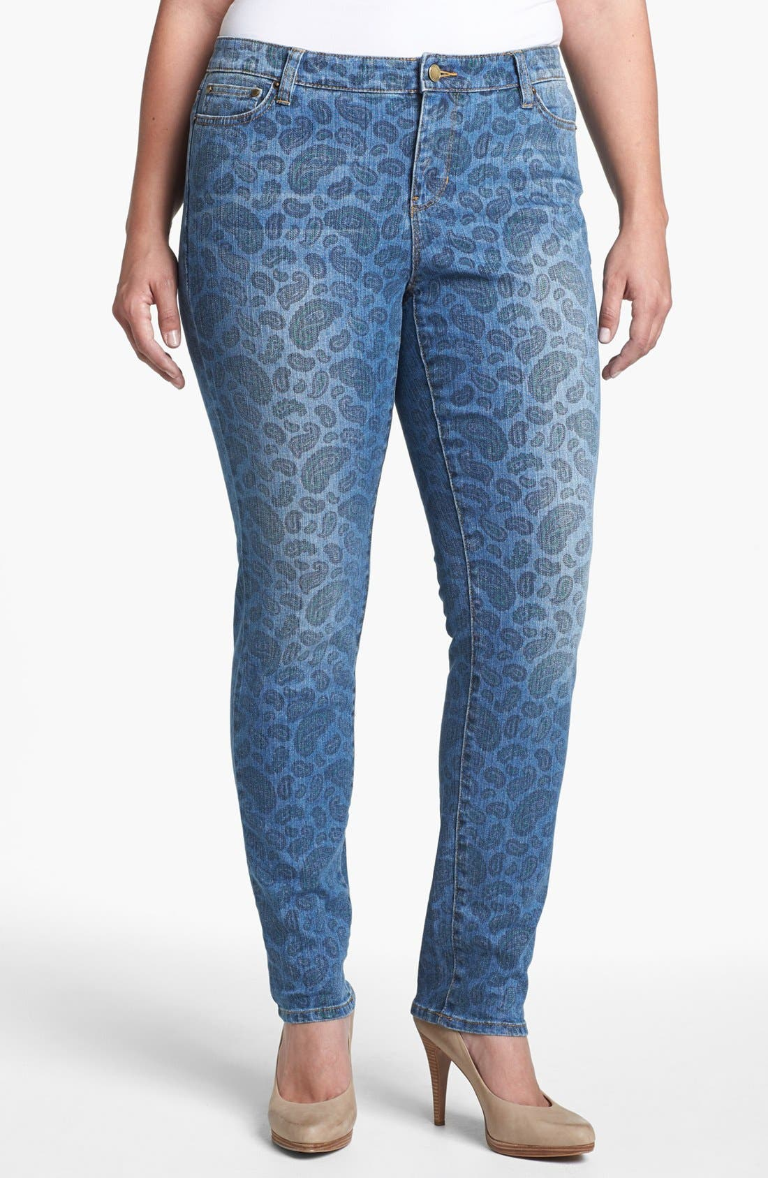 Alternate Image 1 Selected - MICHAEL Michael Kors Paisley Print Jeans (Plus Size)