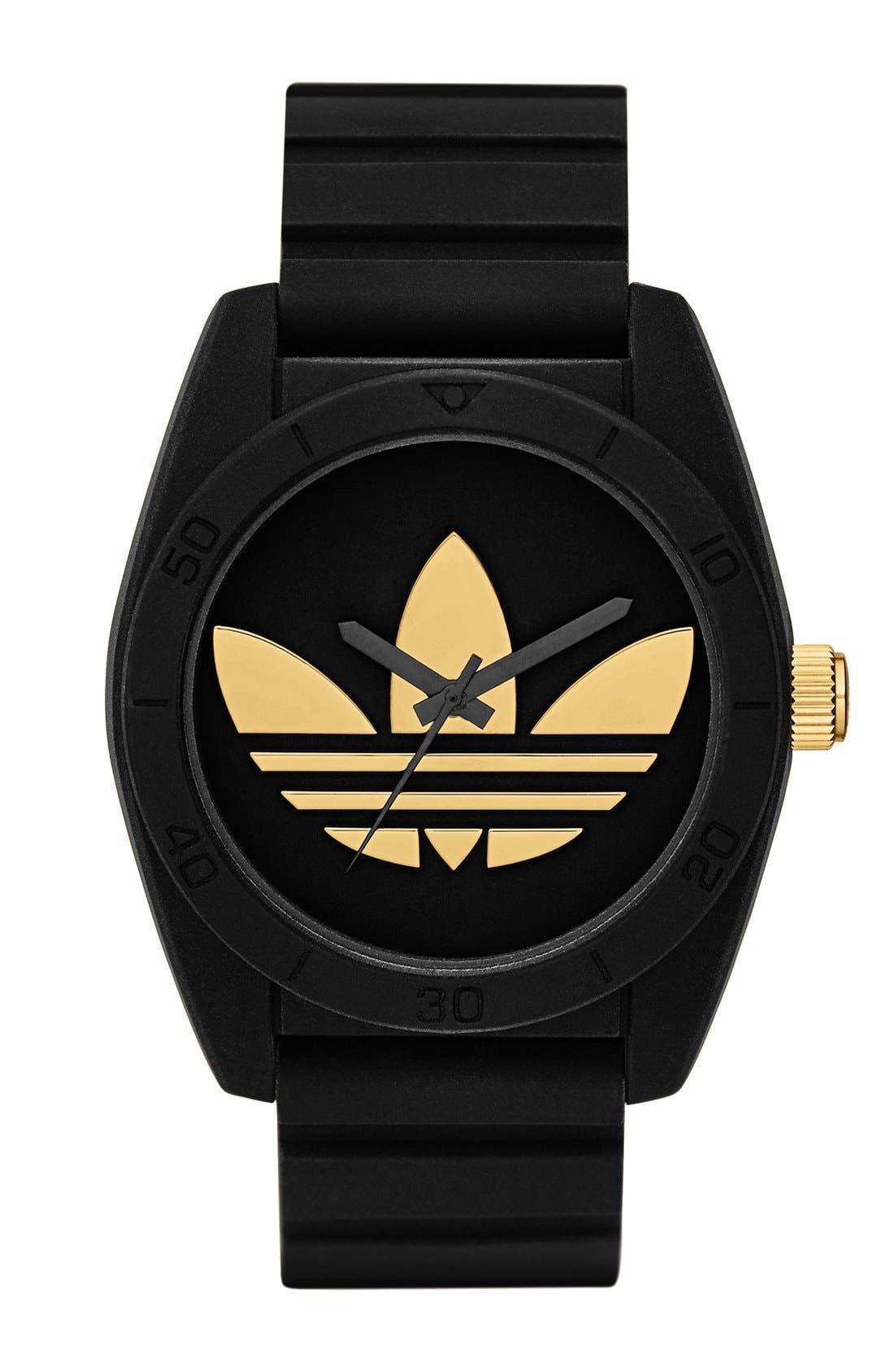 'Santiago' Polyurethane Strap Watch, 42mm,                         Main,                         color, Black/ Harlem Gold