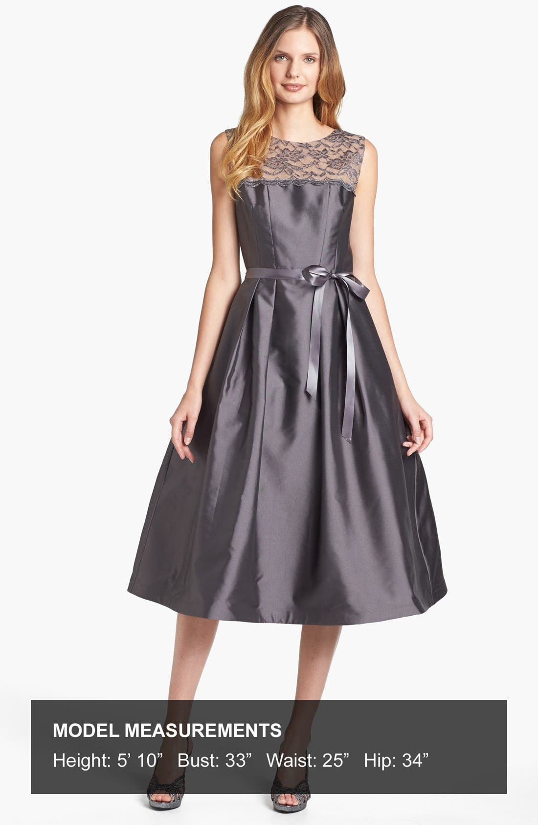 Alternate Image 4  - Alex Evenings Illusion Yoke Satin Fit & Flare Dress