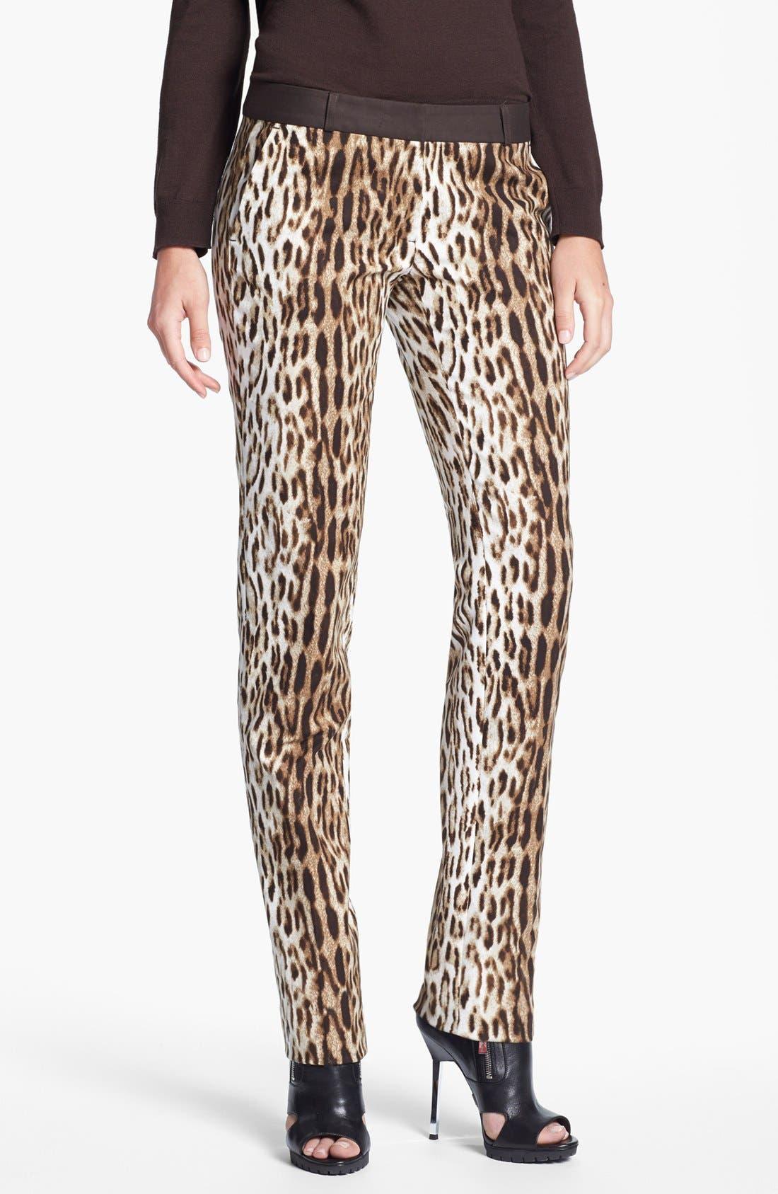 Alternate Image 1 Selected - MICHAEL Michael Kors 'Sexy Skinny' Leopard Print Stretch Pants (Regular & Petite)