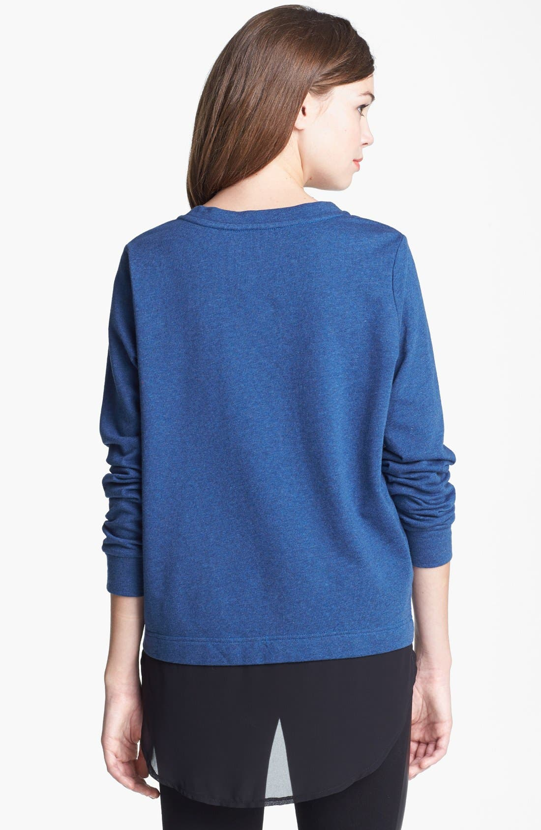 Alternate Image 2  - Two by Vince Camuto Embellished Chiffon Shirttail Sweatshirt