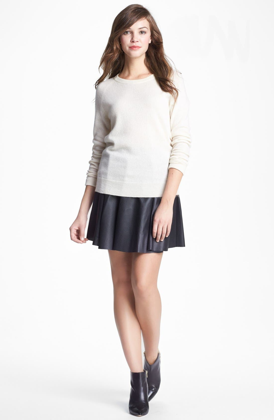 Alternate Image 5  - Vince Camuto Perforated Faux Leather Skater Miniskirt