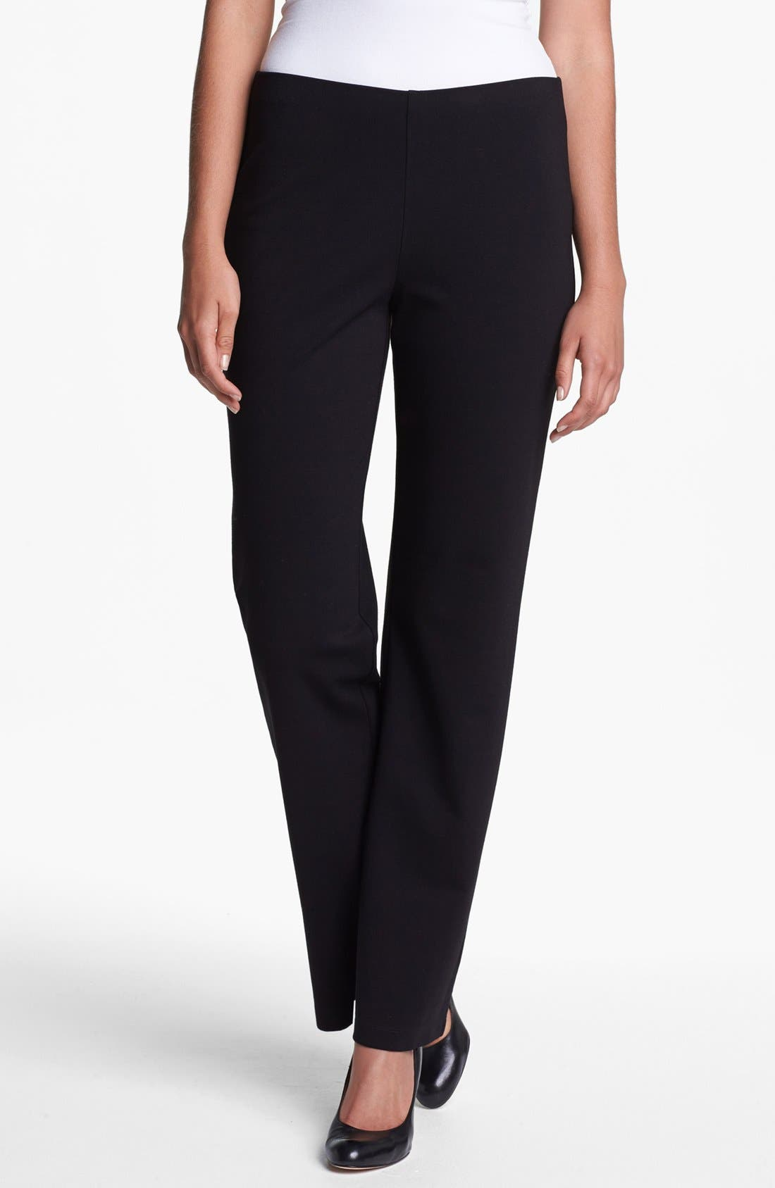 Alternate Image 1 Selected - Eileen Fisher Straight Leg Ponte Pants (Regular & Petite)