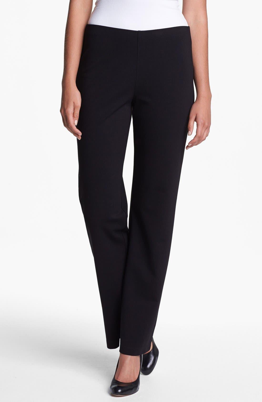 Straight Leg Ponte Pants,                         Main,                         color, Black