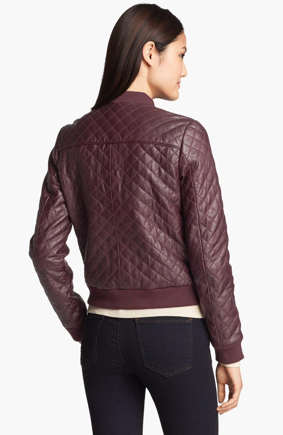 Alternate Image 3  - Halogen® Quilted Leather Bomber Jacket