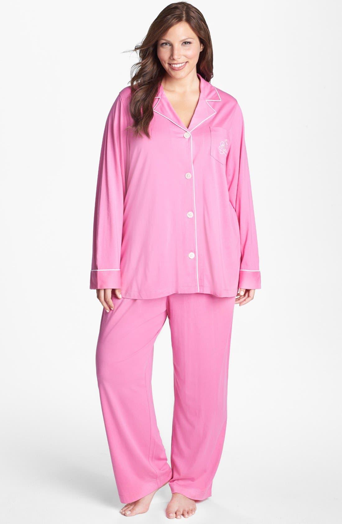 Knit Pajamas,                             Main thumbnail 1, color,                             Portifino Pink