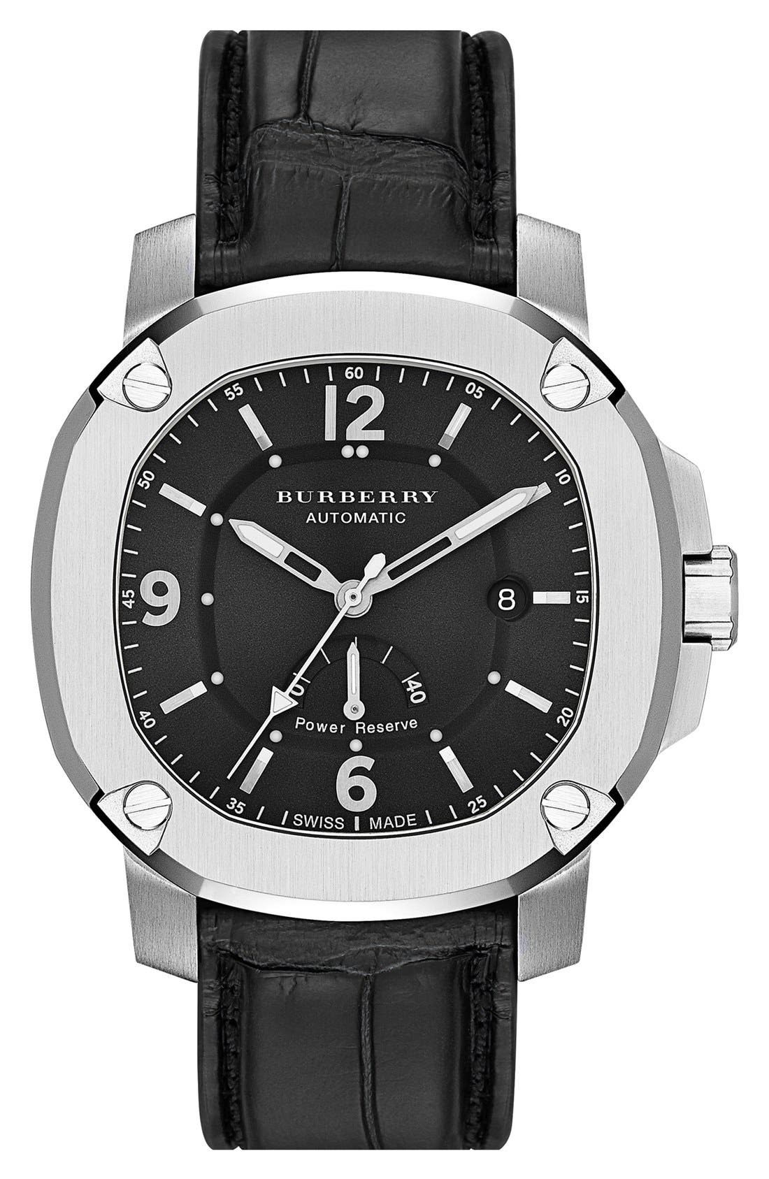 Main Image - Burberry The Britain Automatic Alligator Strap Watch, 47mm