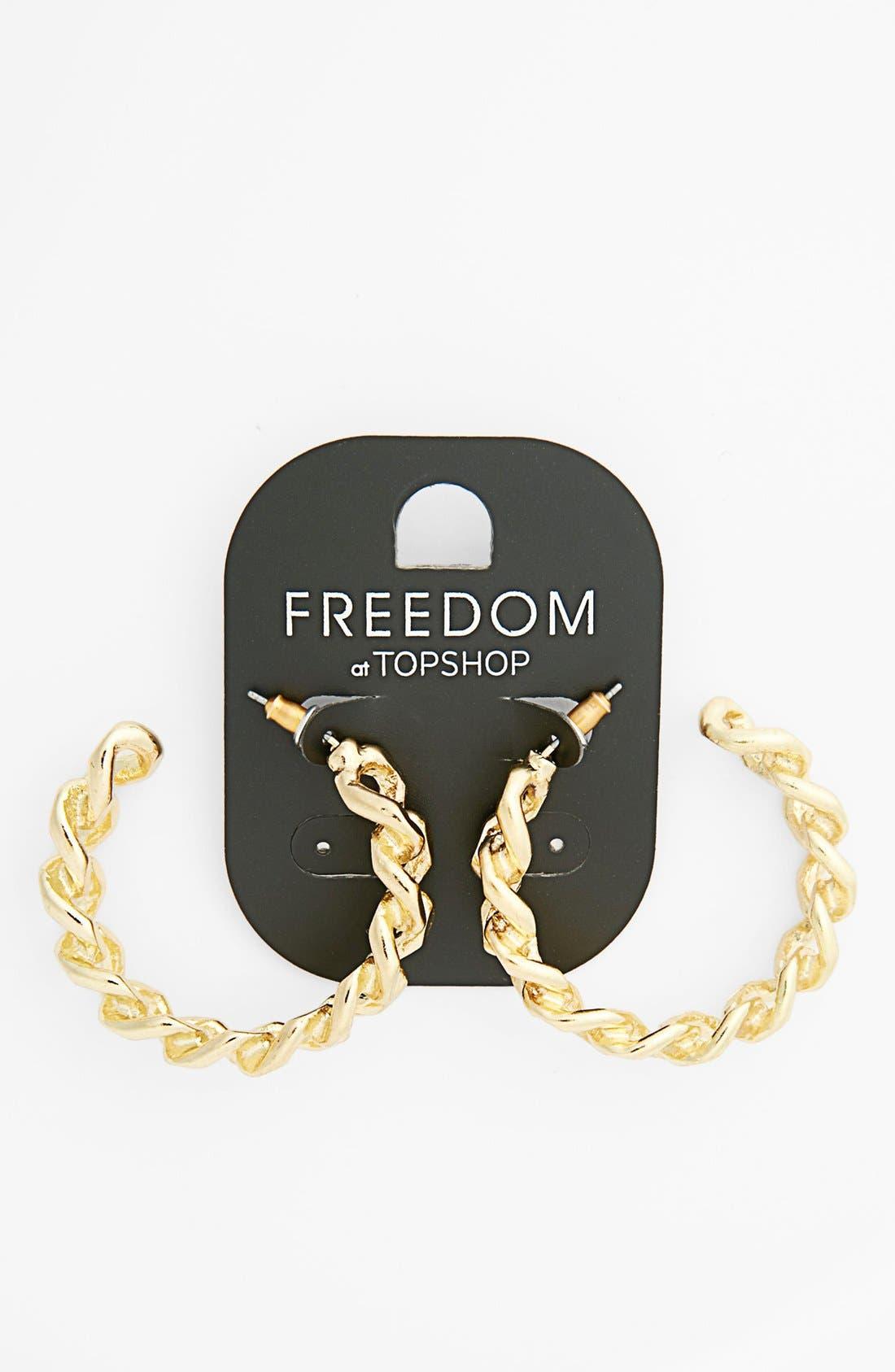 Main Image - Topshop Curb Chain Mini Hoop Earrings