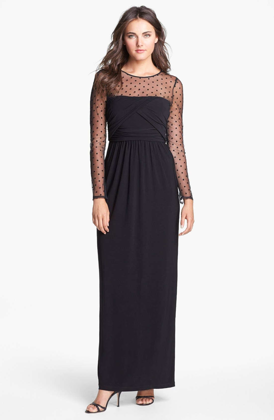 Alternate Image 1 Selected - Eliza J Illusion Yoke Jersey Maxi Dress (Regular & Petite)