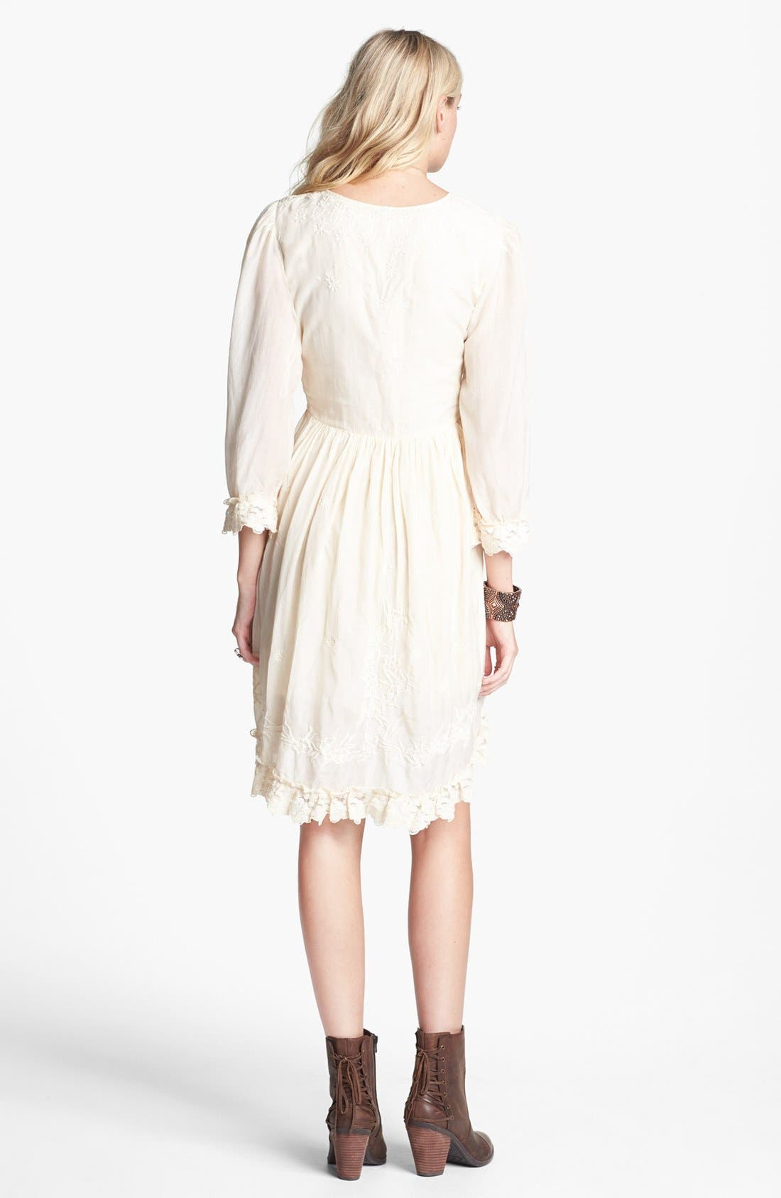 Alternate Image 2  - Free People 'Montana' Embroidery & Lace Cotton High/Low Dress