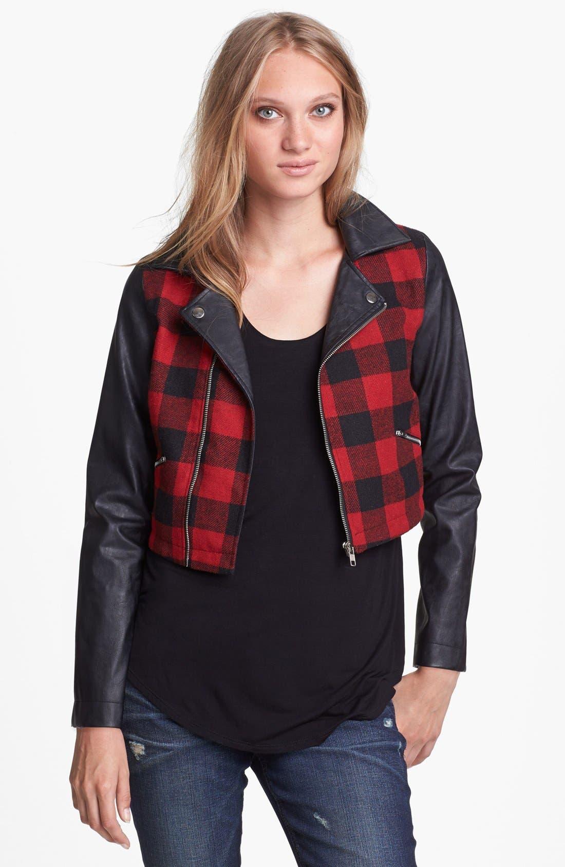 Alternate Image 1 Selected - Like Mynded Buffalo Plaid Crop Jacket