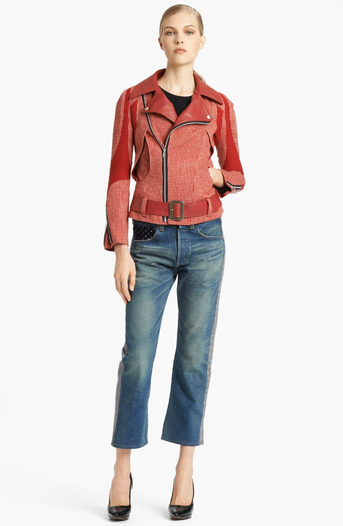 Alternate Image 2  - Junya Watanabe Faux Leather Trim Houndstooth Biker Jacket