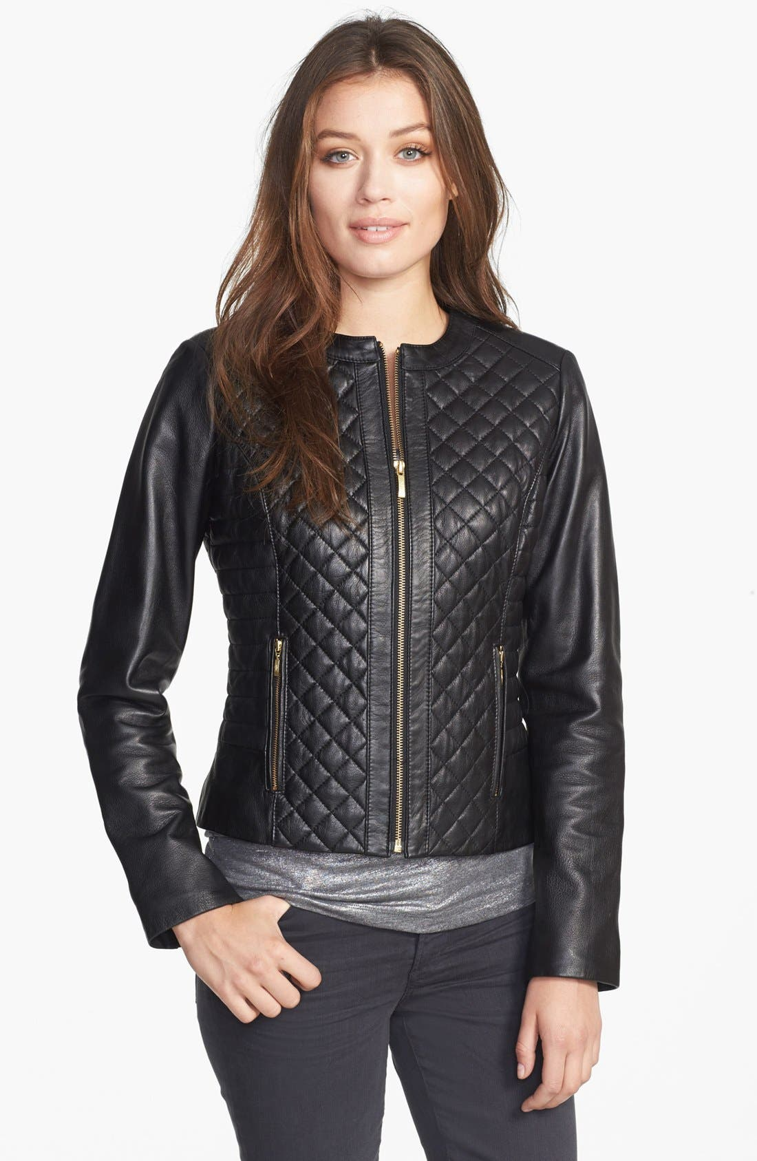 Main Image - Cole Haan Collarless Quilted Leather Jacket