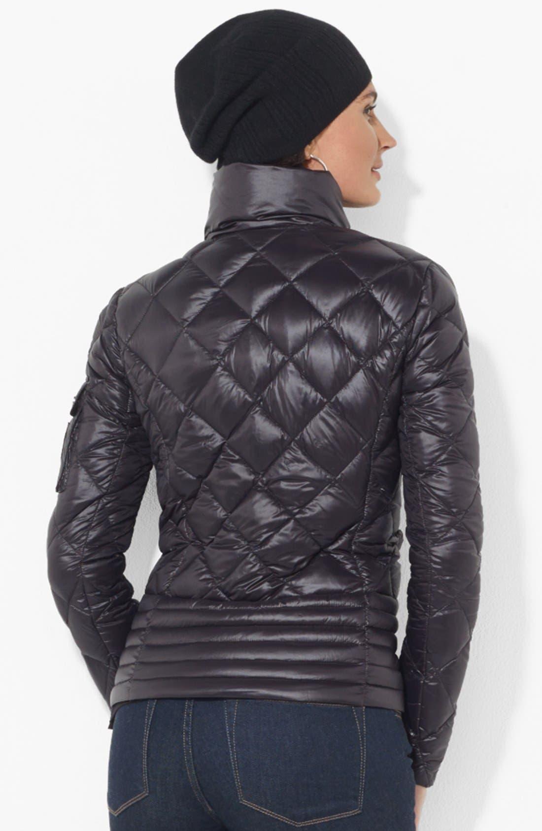 Mixed Quilt Packable Down Jacket,                             Alternate thumbnail 2, color,                             Black