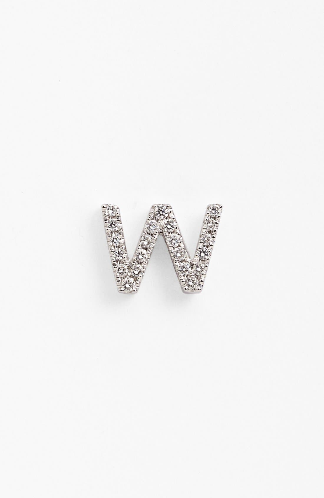Single Initial Earring,                             Main thumbnail 1, color,                             White Gold/ W