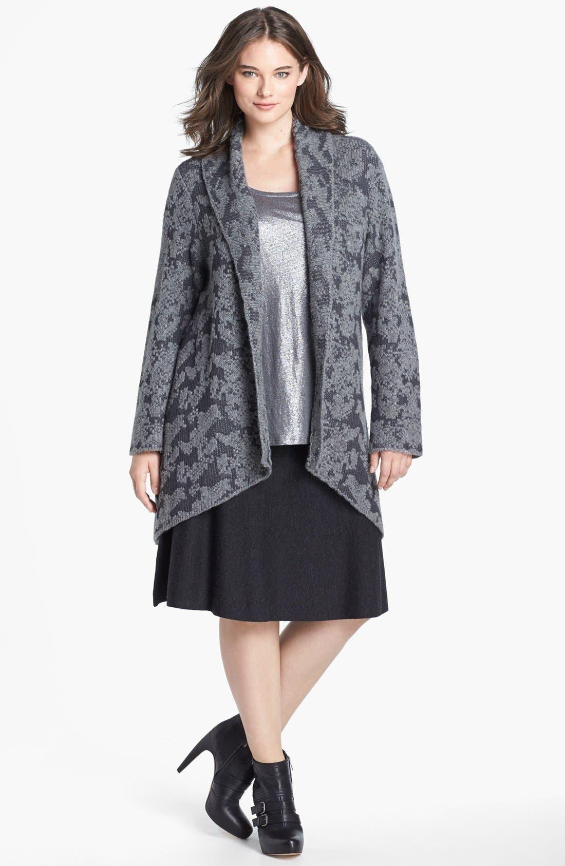 Alternate Image 1 Selected - Eileen Fisher Shawl Collar Cardigan (Plus Size)