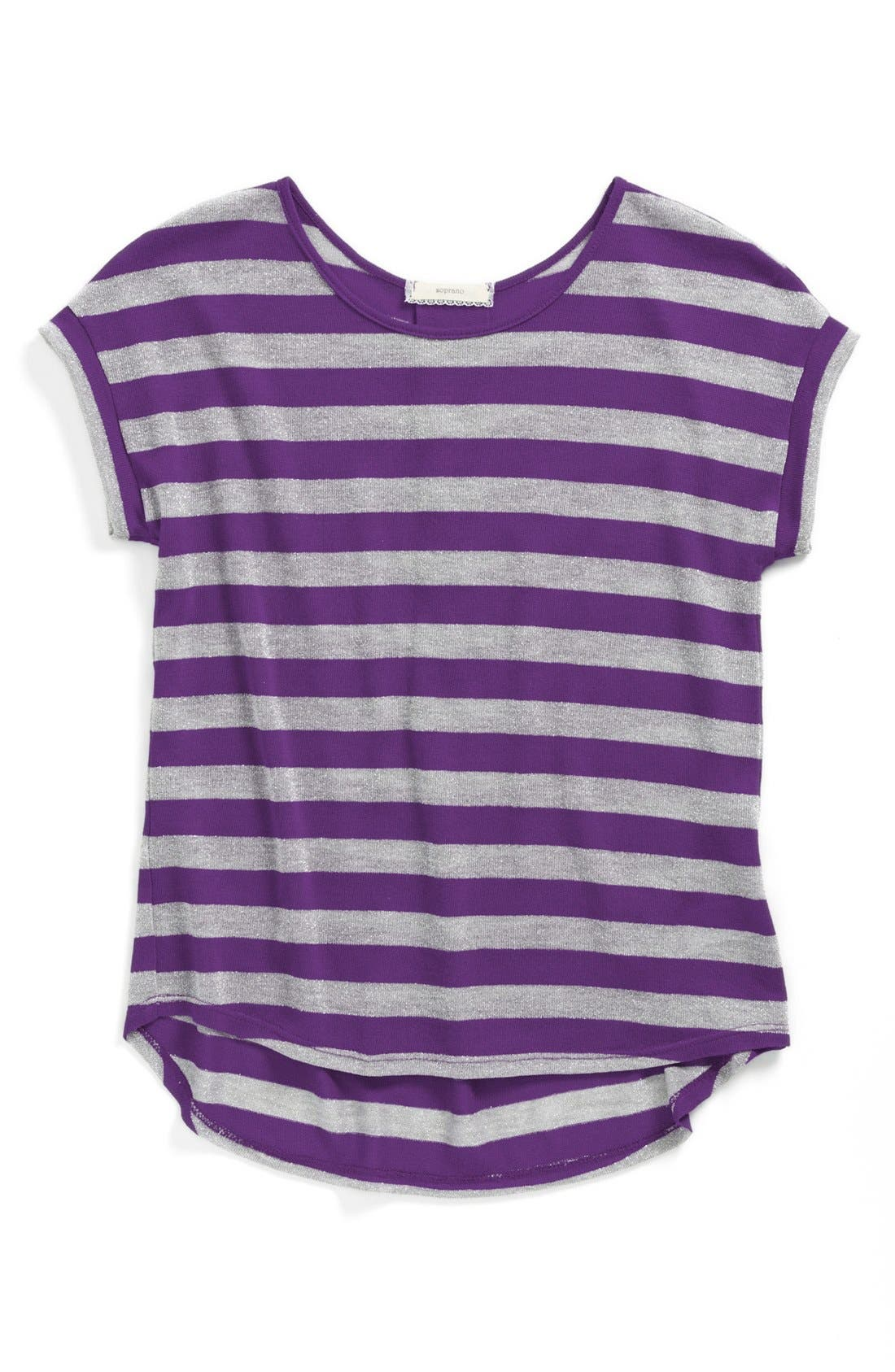 Alternate Image 1 Selected - Soprano Metallic Stripe Top (Big Girls)