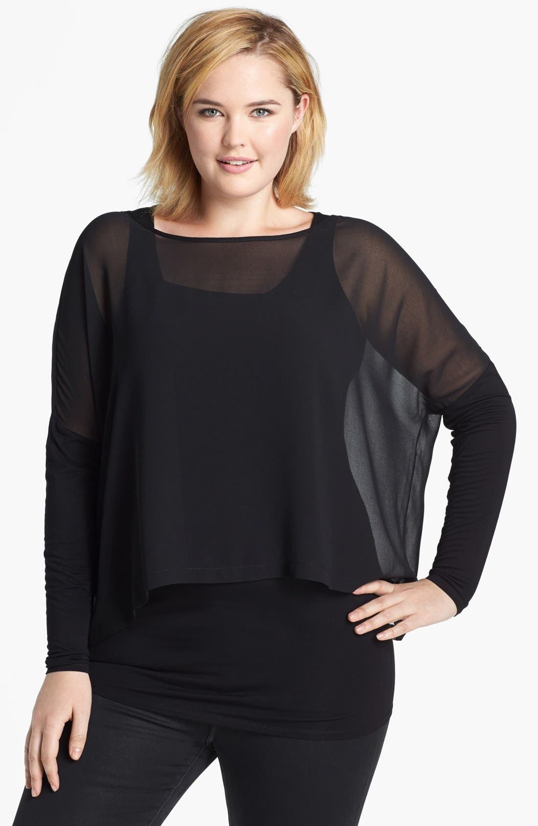 Alternate Image 1 Selected - Evans Double Layer Top (Plus Size)