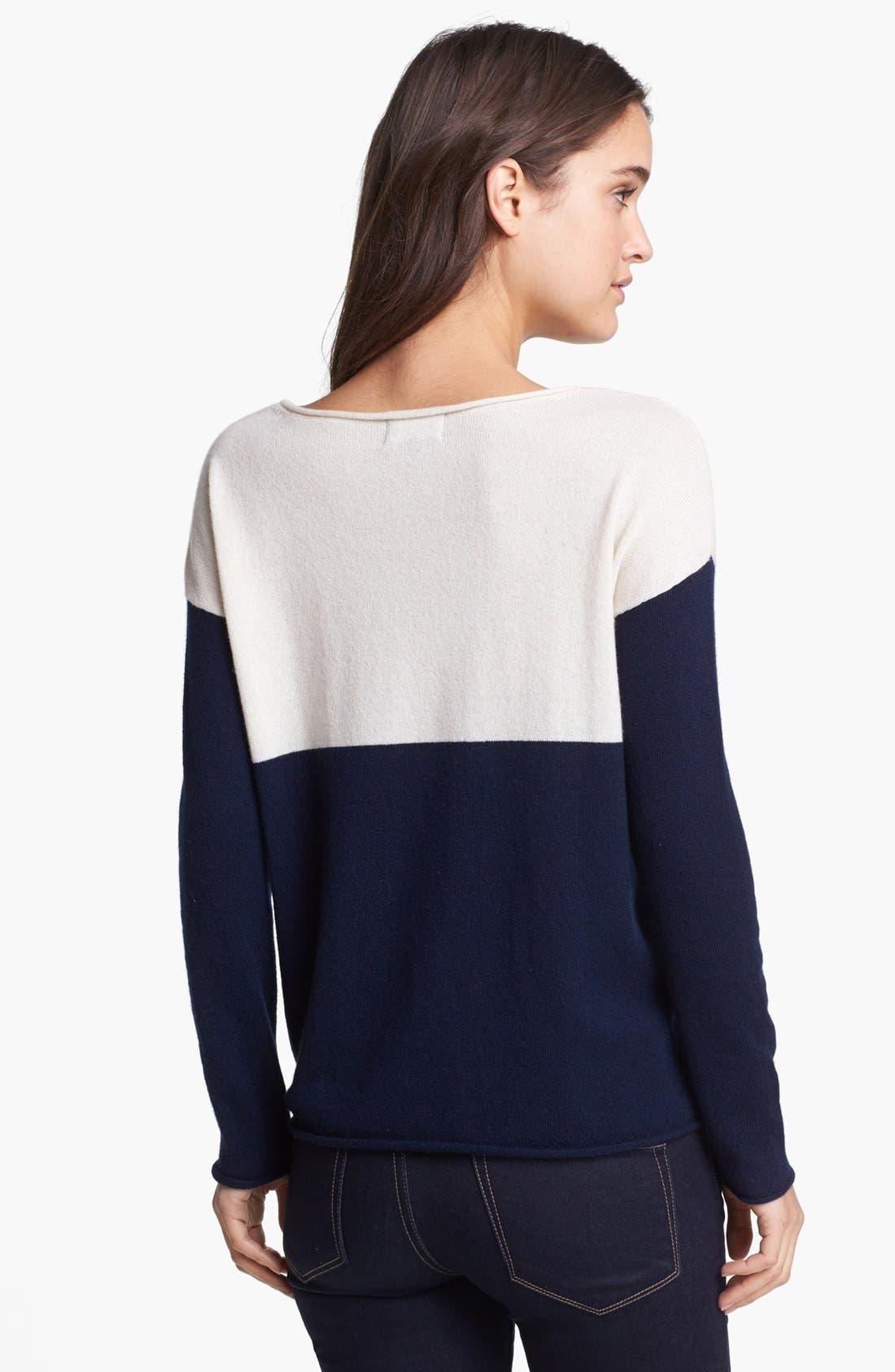 Colorblock Sweater,                             Alternate thumbnail 2, color,                             Navy/ Cream