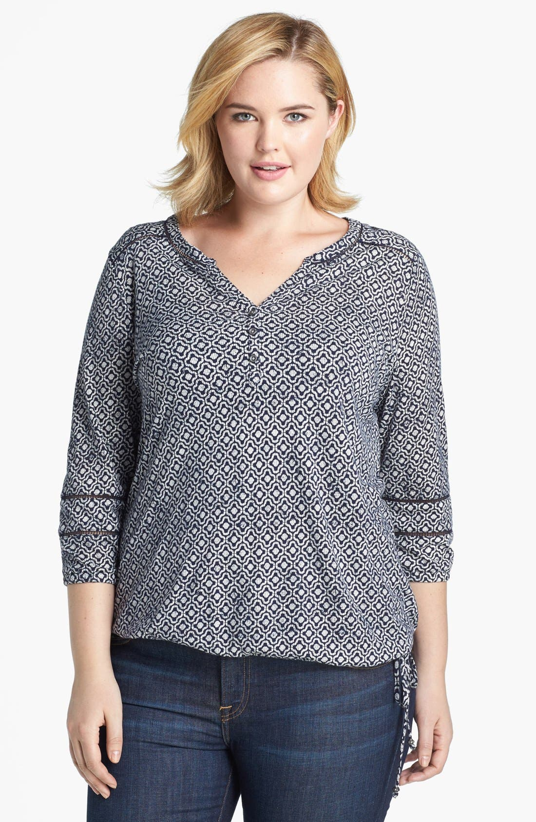 Alternate Image 1 Selected - Lucky Brand Geo Tile Blouson Top (Plus Size)