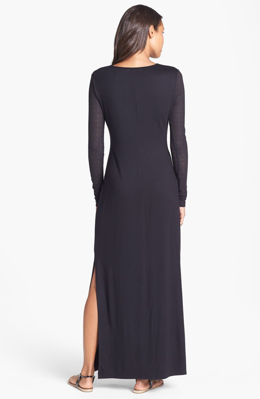 Alternate Image 2  - Three Dots Lace Sleeve Jersey Maxi Dress