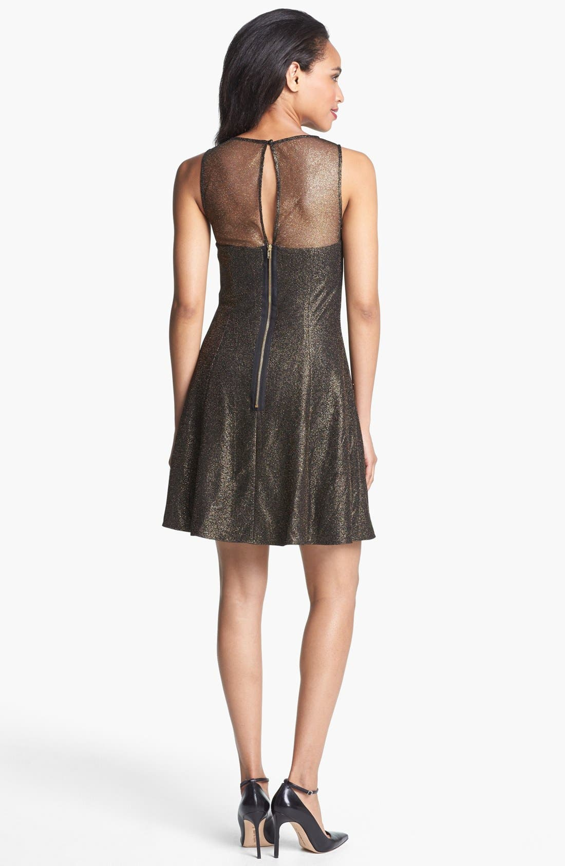 Alternate Image 2  - Aidan by Aidan Mattox Metallic Skater Dress