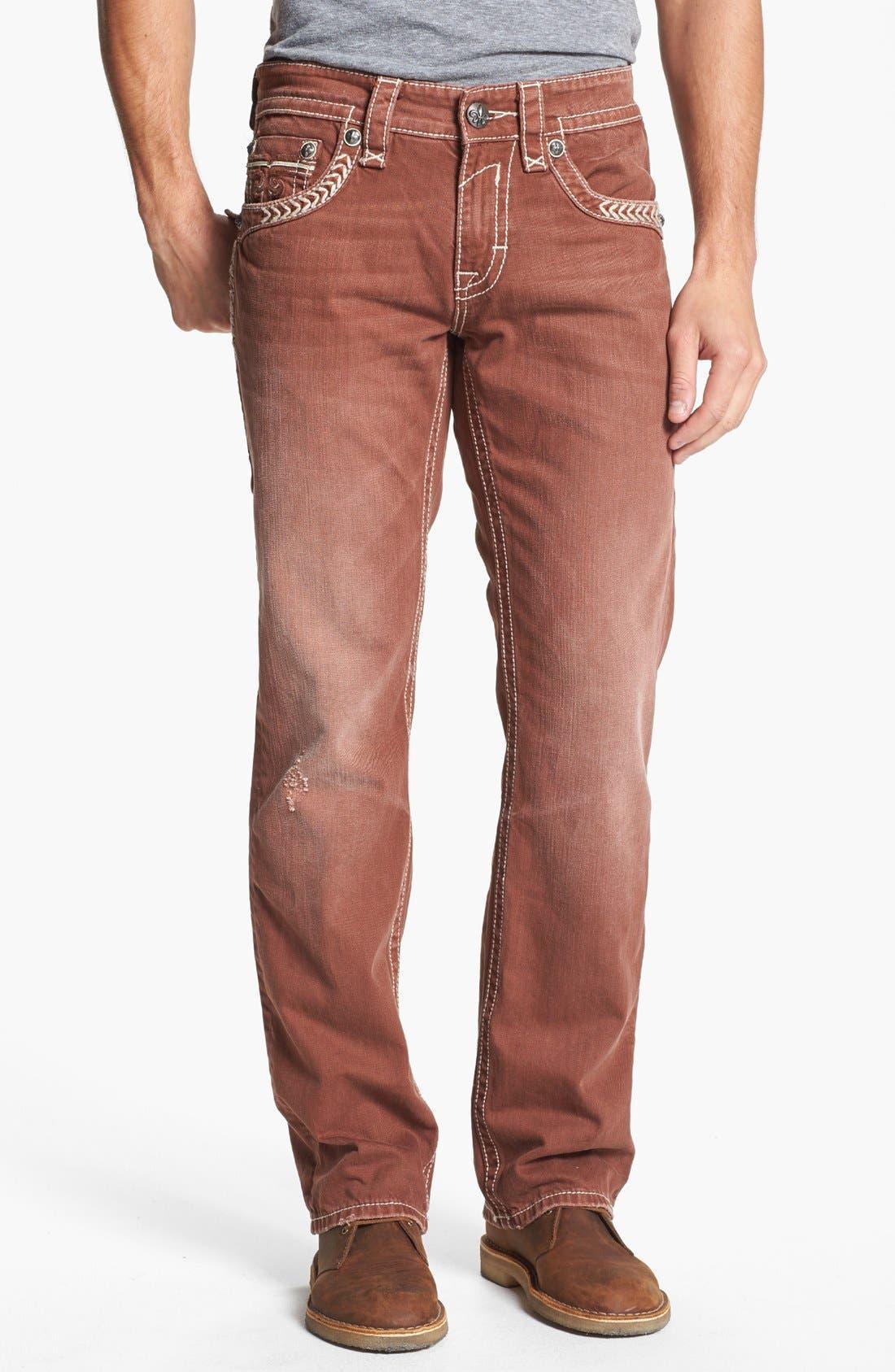 Alternate Image 2  - Rock Revival 'Sebastian' Straight Leg Jeans (Brown)