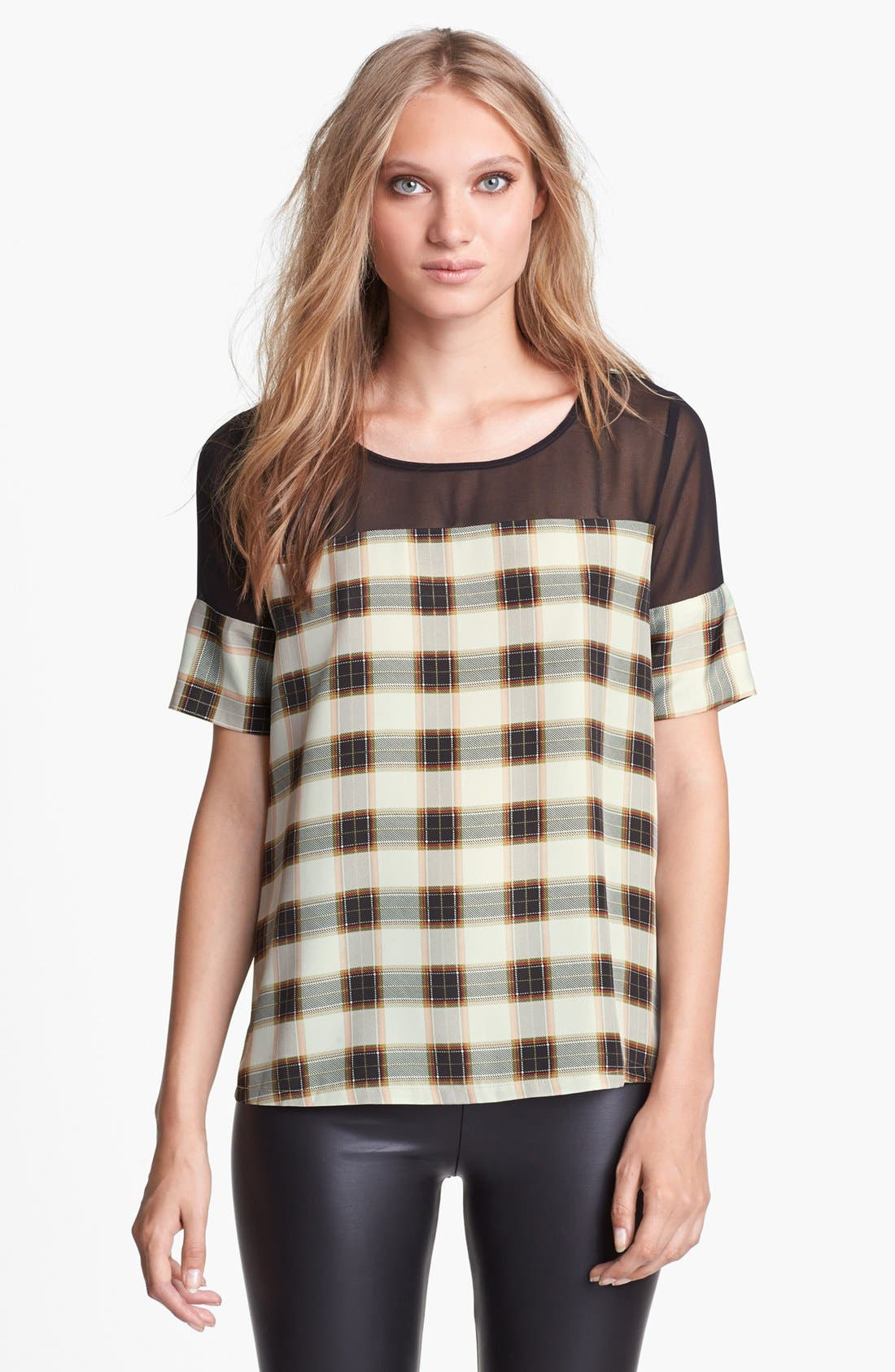 Main Image - Like Mynded Chiffon Yoke Plaid Top