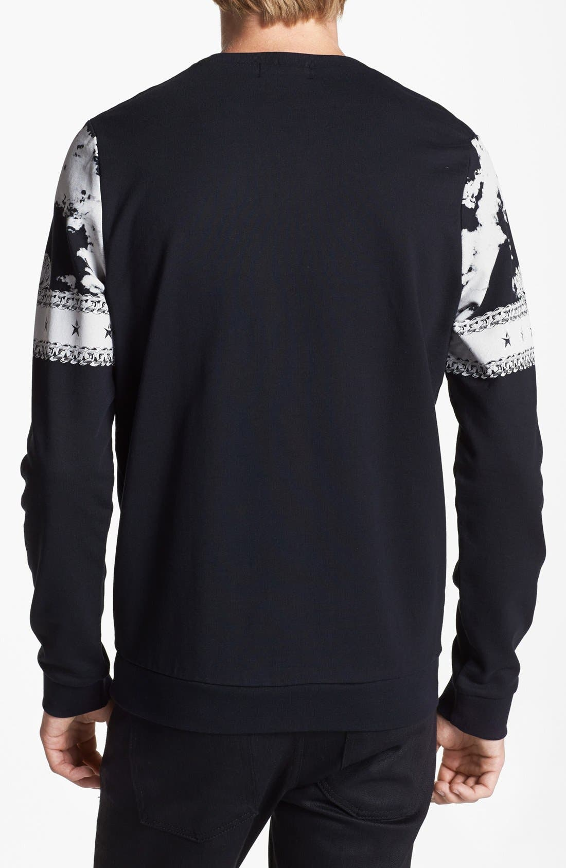 Alternate Image 2  - Topman Baroque Print Crewneck Sweatshirt
