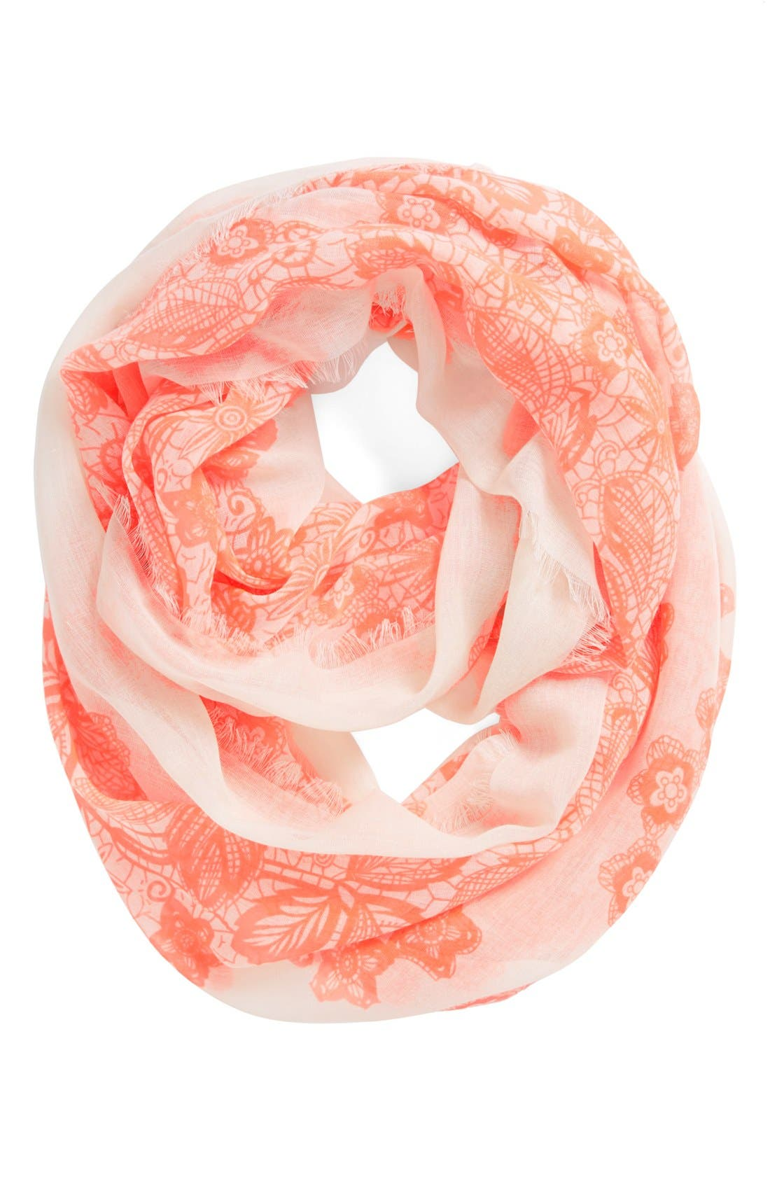 'Floral Lace' Infinity Scarf,                             Main thumbnail 1, color,                             Coral