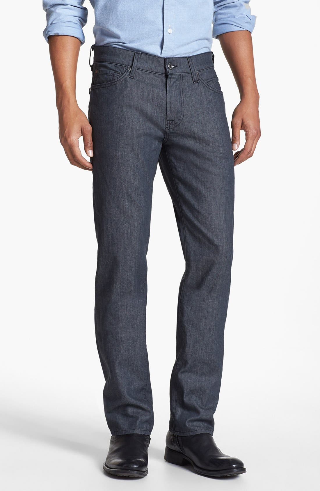 Alternate Image 1 Selected - 7 For All Mankind® 'Slimmy' Slim Straight Leg Jeans (Clean Grey)