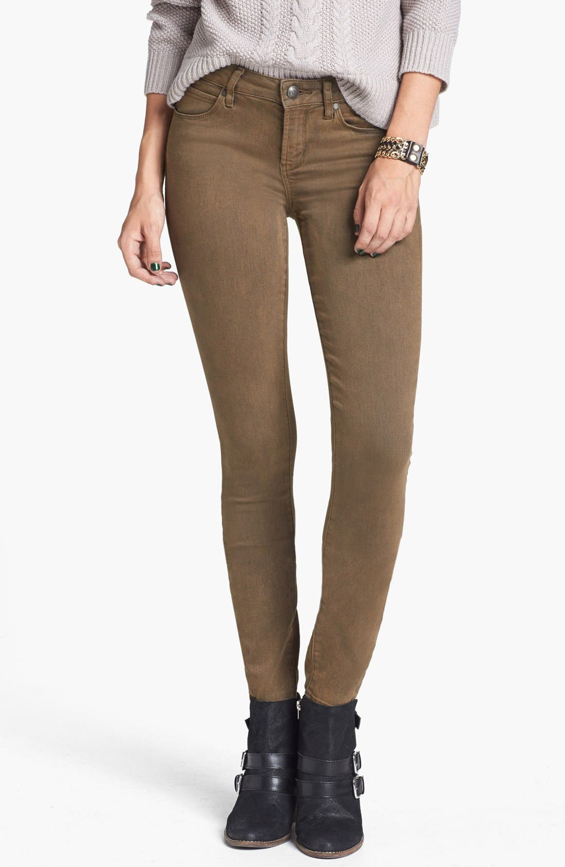 Main Image - Articles of Society 'Mya' Overdyed Skinny Jeans (Army) (Juniors)