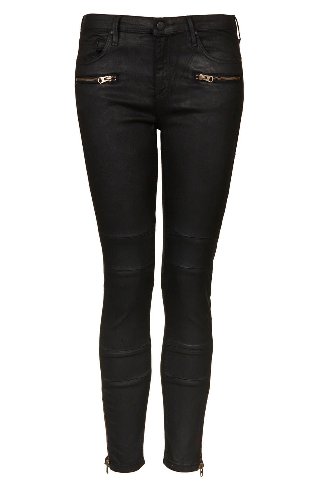 Alternate Image 3  - Topshop Moto Seamed Coated Skinny Jeans (Short)