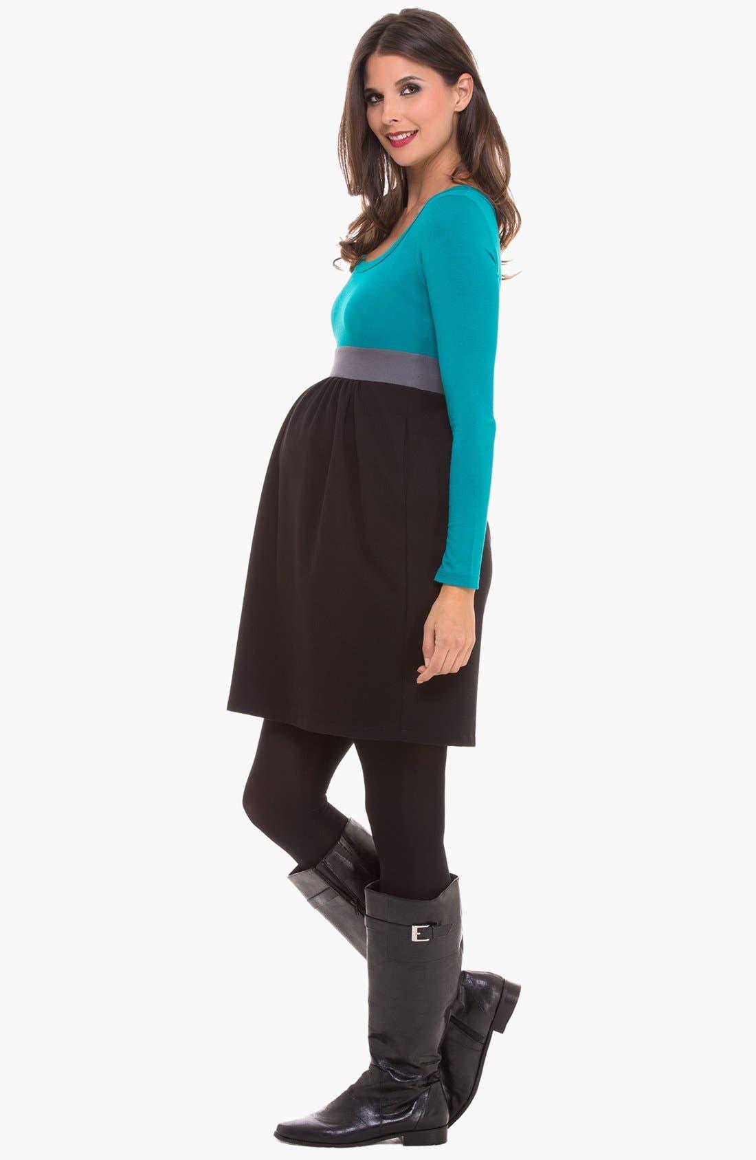 Alternate Image 3  - Olian Colorblock Maternity Dress