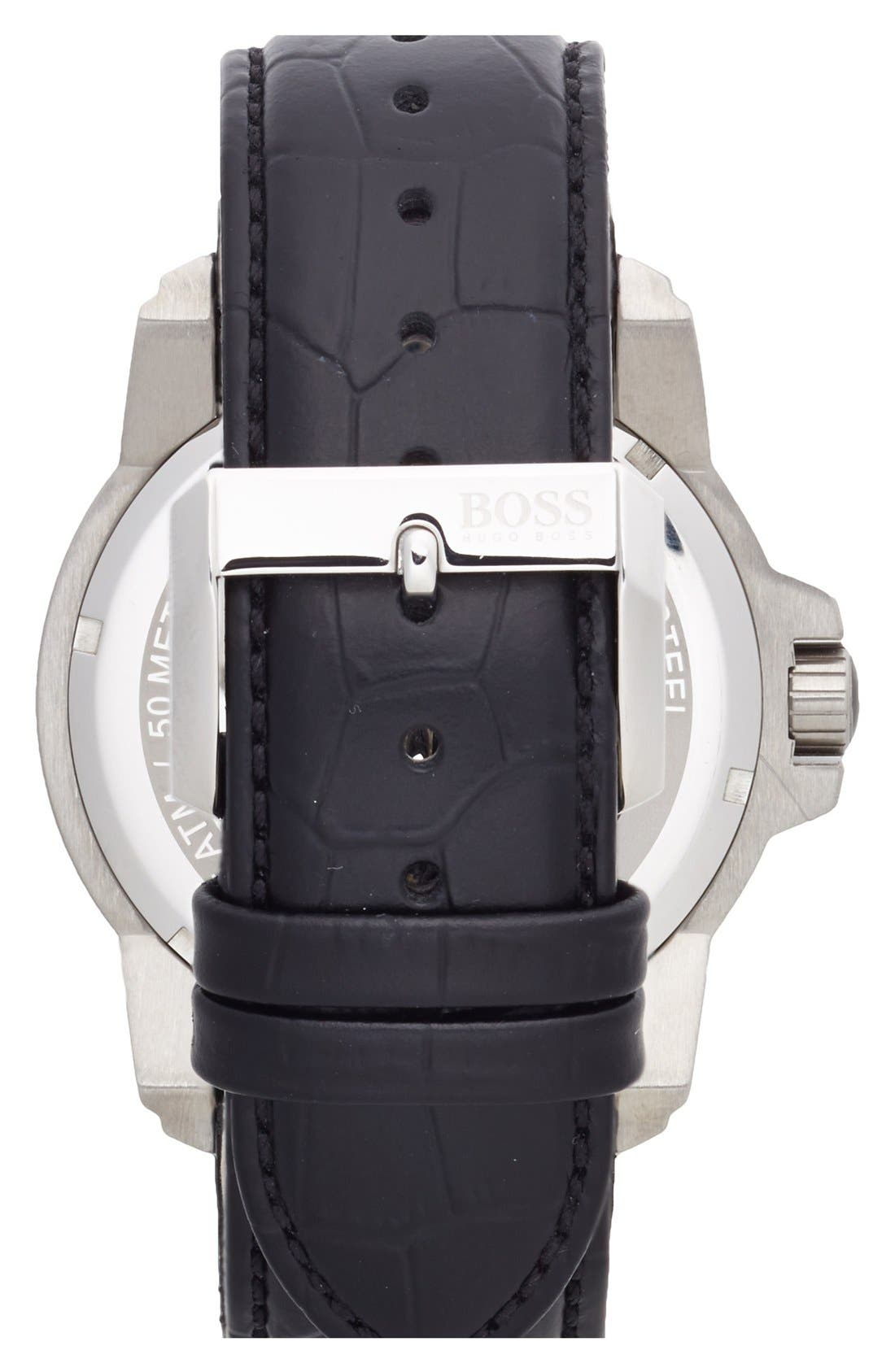 Alternate Image 2  - BOSS Round Leather Strap Watch, 46mm